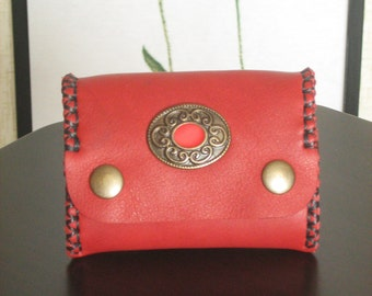 Victorian Fashion Leather Coins Wallet with Celtic Concho Design