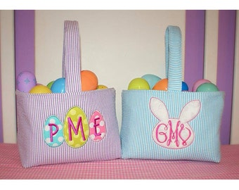 Easter Basket - Monogrammed Easter Basket - Easter Egg Hunt Basket - Easter Bunny Basket - Appliqued Easter Basket