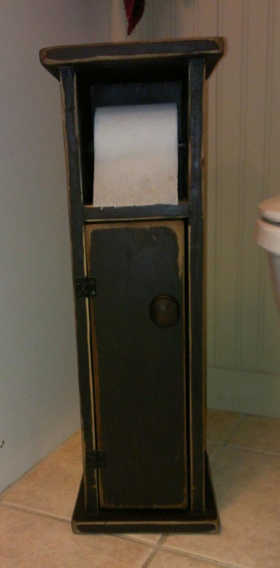 Primitive toilet paper holder with storage - Bathroom towel and toilet paper holders ...