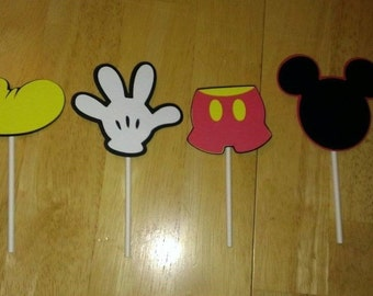 Set of 12 Mickey Mouse Birthday Cupcake Toppers Party Decorations