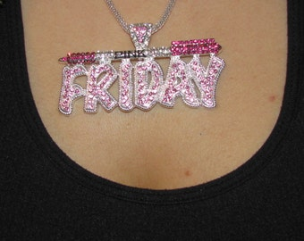 Iced Out Bling Nicki Minaj inspired Pink Friday Barbie Crystal silver chain necklace