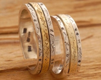 Sterling Silver and Gold Matching Wedding Rings, Bride and Groom Wedding Bands, Promise Rings, BE20