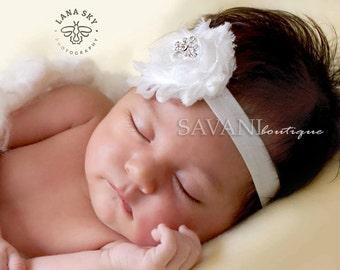 White  Baby headband, vintage headband, shabby chic roses headband, headband