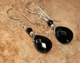 Black Onyx Briolette Earrings, Black & Silver Earrings