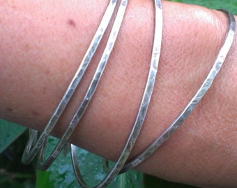 Sterling Bangle, Handforged Bracelet Bangles, Rustic Hammered Bangles, Sterling Bangles