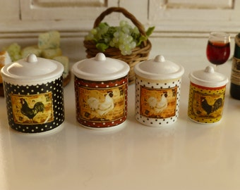 Dollhouse Miniature Kitchen Country Dots Roosters Canisters