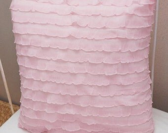 "Light Pink Cascading 1""  Ruffle Pillow"
