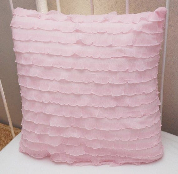 Light Pink Ruffle Throw Pillow : Light Pink Cascading 1 Ruffle Pillow