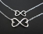 Sterling Silver Infinity Necklace Set. Mother Daughter Necklaces. Sterling Silver. Matching Family Jewelry Set. Infinite Hearts Pendant.