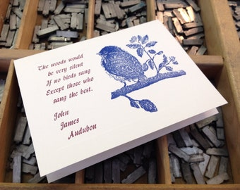 "Letterpress Note Cards ""Audubon Quote"" - Set of 10 cards with matching envelopes"
