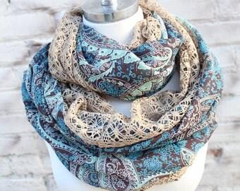 Fashion infinity chiffon  scarf with lace