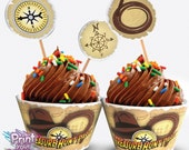 Print Your Fiesta editable digital party set - Treasure Hunt Cupcake Kit - cupcake wrappers, circle toppers, flags, Free shipping