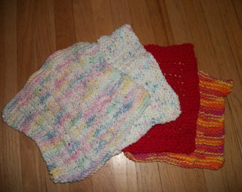 Set of 2 Knitted Dishcloths (Pastel and Brights)