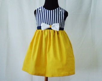 Nautical yellow Girl Dress - Toddler Dress -Summer dress- Baby Girl Sailor Dress - Baby Dress 6M - 4T