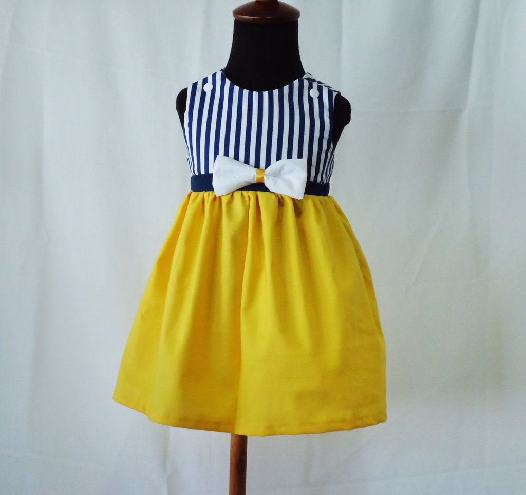 Toddler Boys Designer Sailor Themed Clothes Nautical yellow Girl Dress