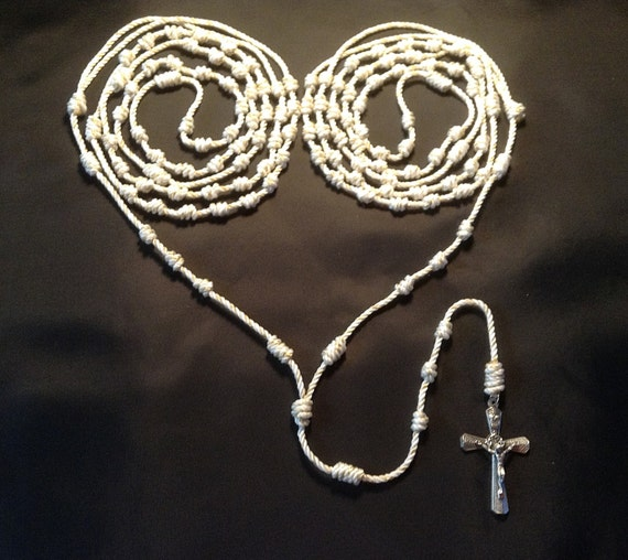 Wedding Lasso: Wedding Lasso Hand Knotted Twine Rosary With Metal Crucifix