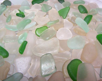 2 Pound of White ,Sea Foam, Green 100% Genuine Ocean Tumbled Sea Glass from the Monterey Bay, Grade A