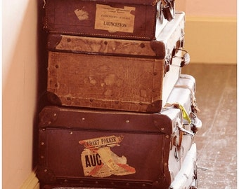 Old Suitcases fine art digital download rustic wall art home decor
