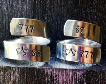 2 Roller Derby Rings , Derby Wife Ring, Spiral Ring, Personalized Ring, Engraved ring, Adjustable SPRALS02