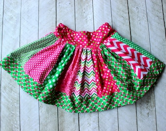 Christmas skirt for girls. Toddler and baby girl skirt for Christmas outfit. Matching skirt in pink green lime. Size 2t 3t 4t 5 6 8 10 12