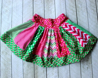 Christmas skirt pink and green chevron polka dot skirt chevron skirt chevron and polkadot skirt holiday clothing skirt outfit set girls