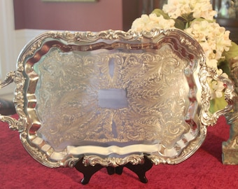 Vintage FB Rogers Silver Plate Serving Tray - Large Butlers Serving Tray - Ornate Silver Plate Serving Tray with Handles