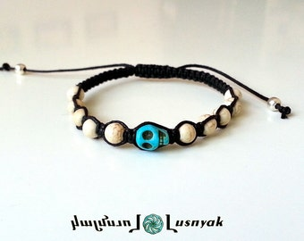 SKULL Shamballa Bracelet with Natural Stones for men and women, guy and girl, stackable and adjustable Lusnyak