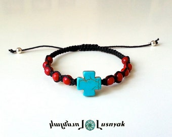 SQUARE CROSS Shamballa Bracelet with Natural Stones for men and women, guy and girl, stackable and adjustable Lusnyak