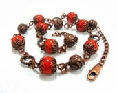 Terracota Coral Necklace, Antiqued copper chain, Red Orange Bohemian fashion jewelry, rustic metal, vintage inspired look, pressed stone - SanaGem