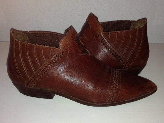 vintage cognac brown leather ankle boots southwestern style