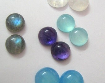 Lot of Mix Gemstone Labradorite,Blue Chalcedony,Amethyst,Aqua Chalcedony,Rainbow Moonstone 12x12 mm Round Cabochons
