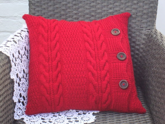 Red knitted pillows knit pillow cover throw pillow knitted