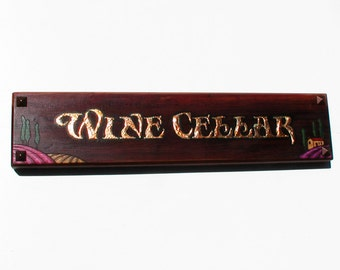 handmade Wine Cellar sign cedar with gilded letters