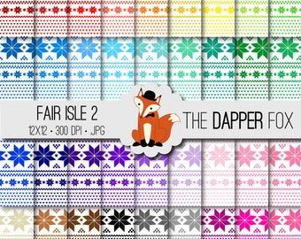 Rainbow Nordic Fair Isle #2 Digital Paper Pack - INSTANT DOWNLOAD - 12x12 - 36 colours - Christmas sweater