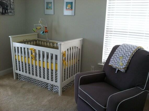 Yellow Gray Baby Bedding Crib Set Baby By BeautifulBebeDesigns
