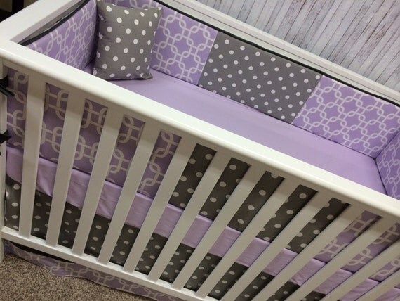 Gray Lavender Purple Baby Crib Bedding Baby by ...