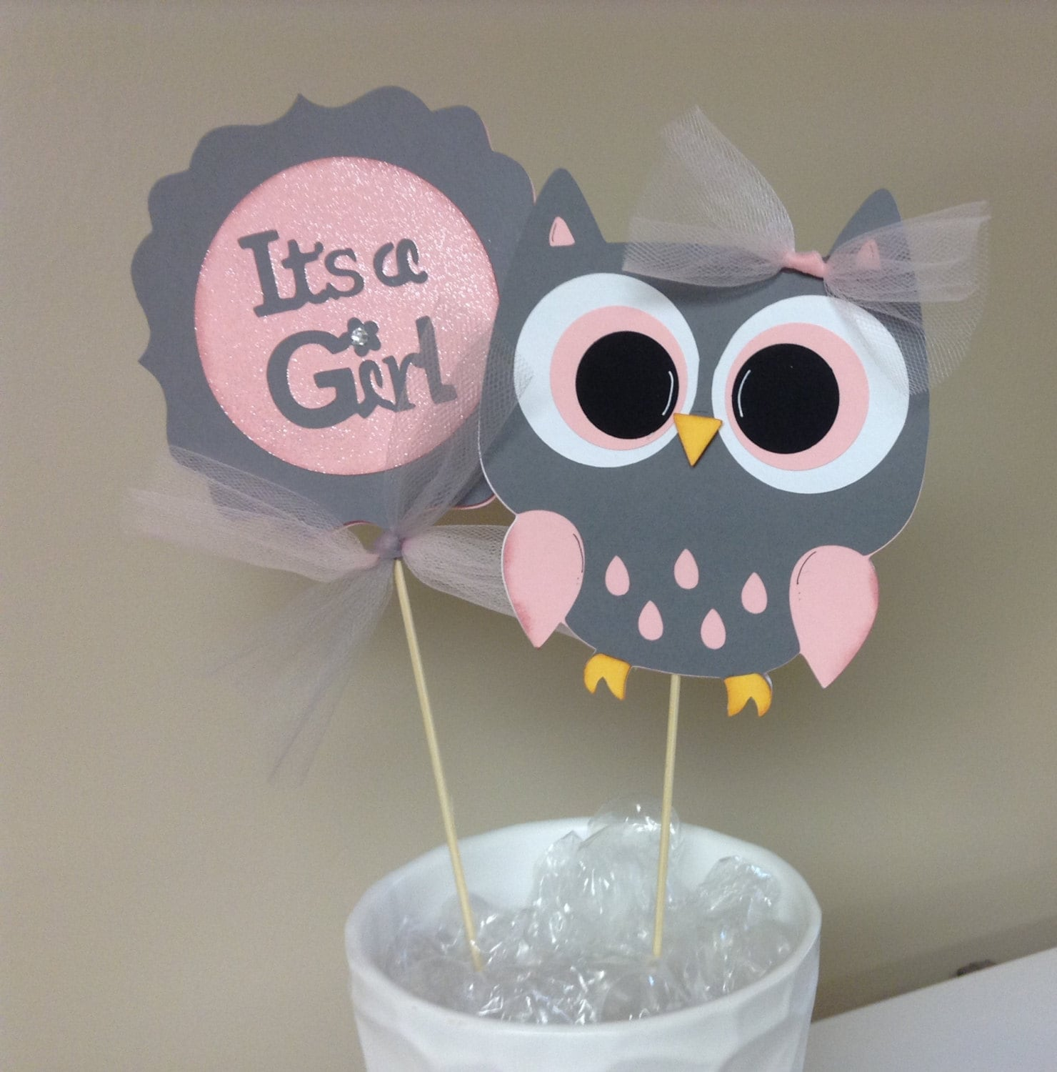 Owl Baby Shower Supplies: Pink And Grey Chevron It's A Girl Owl Centerpieces
