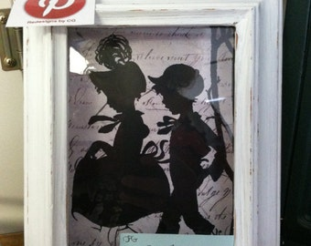 5x7 Boy and Girl Silhouette in black vintage siilouette white shdowbox frame