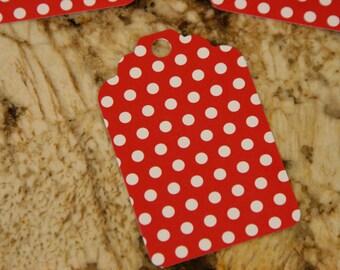 Red w/ White Polka Dot Tags, set of 50