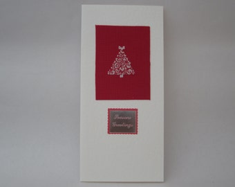 Christmas Tree Hand Made Cross Stitch Christmas Card