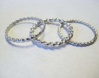 Sterling Silver Stackable Rings (Set of Three)