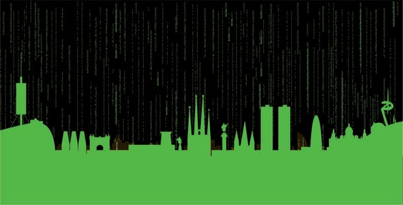 Barcelona Skyline print // The Matrix code by SKYWORLDPROJECT