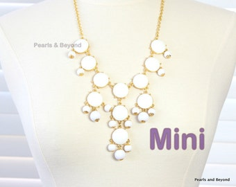 White Bubble Necklace  Bib Necklace Mini Version