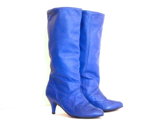cobalt blue mid calf leather boots size 6 by