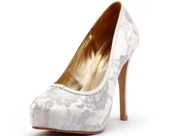 Lady Romance, Ivory Closed Toe Wedding Heels, White Wedding Shoes with Lace, Cover Toe White Wedding Heels, Silver Lace Toe Pump Bridal Heel