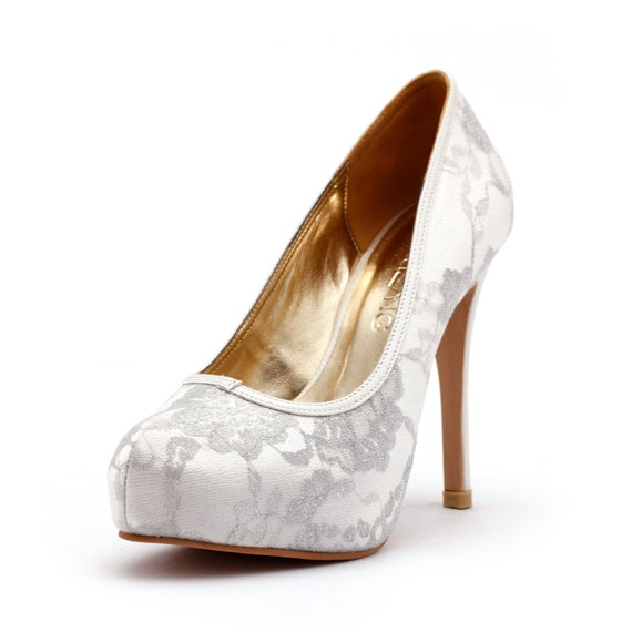 Items Similar To Lady Romance Ivory Closed Toe Wedding Heels White Shoes With Lace Cover Silver Pump Bridal
