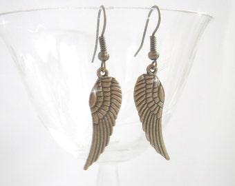 Angel wings - angel wings earrings bronze