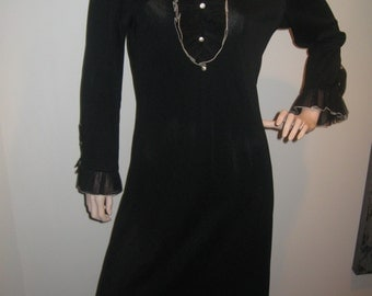 FREE SHIPPING on this Vintage 1960s Ruffles and Rhinestones Black Maxi Dress (Large)