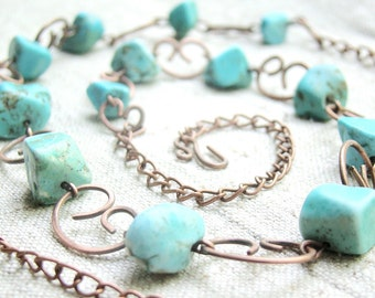 Turquoise necklace, chunky turquoise, turquoise jewelry everyday necklace