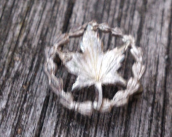 Sterling silver tiny Canadian leaf brooch